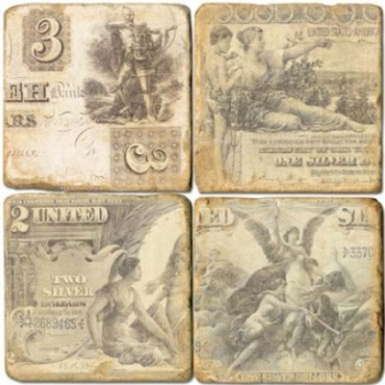 Sous-verres en marbre, 4 pièces, motif billets de banque, finition antique avec dos en liège, L 10 xl 10 x h 1 cm