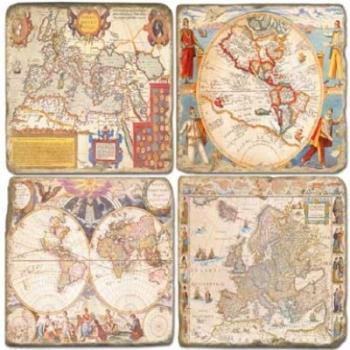Marmor Untersetzer 4er Set, Motivserie Antike Karten, Antikfinish, Kork-Rückseite, Maße: L 10 x B 10 x H 1 cm