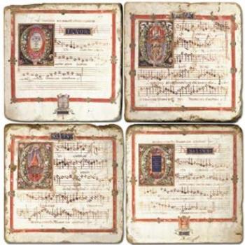 Marmor Untersetzer 4er Set, Motivserie Notenblätter, Antikfinish, Kork-Rückseite, Maße: L 10 x B 10 x H 1 cm