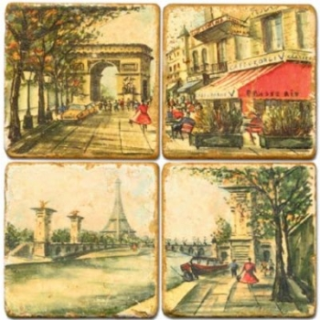Marble Coasters, set of 4, illustration theme Romantic Paris, antique finish, cork backed, l 10 x w 10 x h 1 cm
