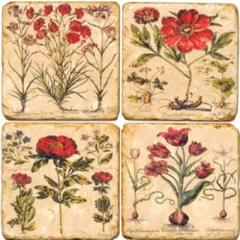 Marble Coasters, set of 4, illustration theme Red Flowers, antique finish, cork backed, l 10 x w 10 x h 1 cm