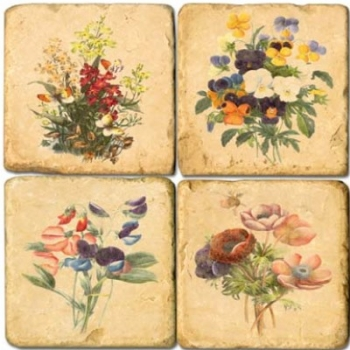 Marble Coasters, set of 4, illustration theme Spring Flowers, antique finish, cork backed, l 10 x w 10 x h 1 cm
