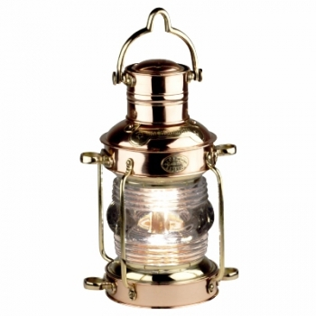 Anchor lamp, massive brass, copper, with glass lens and oil burner, dimensions: h 30 x d 15/19 cm