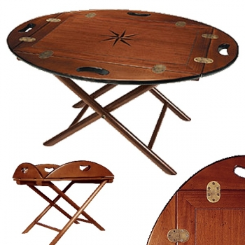 Butler Table antique design, solid mahogany with star inlay, brass hinges, Dimensions: l 87 w 66 x h 40 cm