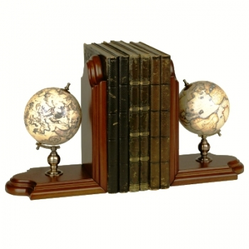 Book Ends with Globes, terrestrial/astronomical, bronze holder, precious wood stand, Dimensions: h 36 x w 25 x d 13 cm