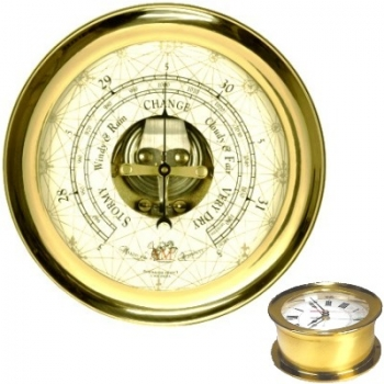Captain's Barometer with solid brass housing, Dimensions: Ø 18 x d 8 cm