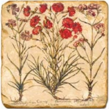 Marble Tile, Theme: Red Flowers A, antique finish, hanger, anti slip nubs, Dim.: l 20 x w 20 x h 1 cm