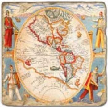 Carrelage en marbre, motif carte ancienne B, finition antique, illet pour l'accroche, pieds antidérapants, L 20 xl 20 x h 1 cm
