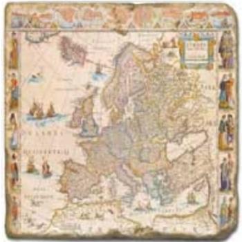 Carrelage en marbre, motif carte ancienne C, finition antique, illet pour l'accroche, pieds antidérapants, L 20 xl 20 x h 1 cm