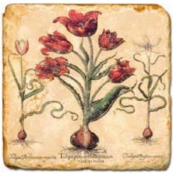 Marble Tile, Theme: Red Flowers C, antique finish, hanger, anti slip nubs, Dim.: l 20 x w 20 x h 1 cm
