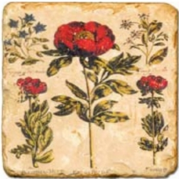 Marble Tile, Theme: Red Flowers D, antique finish, hanger, anti slip nubs, Dim.: l 20 x w 20 x h 1 cm
