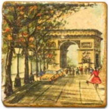 Marble Tile, Theme: Romantic Paris A, antique finish, hanger, anti slip nubs, Dim.: l 20 x w 20 x h 1 cm