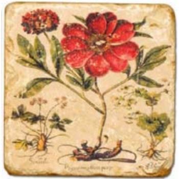 Carrelage en marbre, motif fleurs rouges B, finition antique, illet pour l'accroche, pieds antidérapants, L 20 xl 20 x h 1 cm