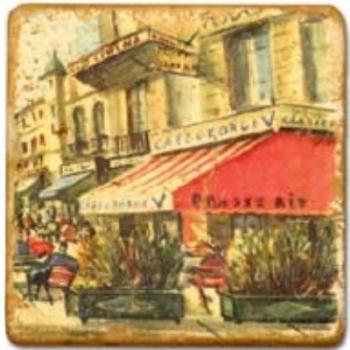 Carrelage en marbre, motif vues de Paris B, finition antique, illet pour l'accroche, pieds antidérapants, L 20 xl 20 x h 1 cm