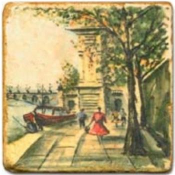 Marble Tile, Theme: Romantic Paris C, antique finish, hanger, anti slip nubs, Dim.: l 20 x w 20 x h 1 cm