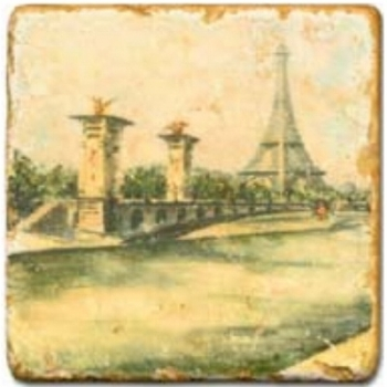 Marble Tile, Theme: Romantic Paris D, antique finish, hanger, anti slip nubs, Dim.: l 20 x w 20 x h 1 cm