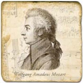 Marmorfliese, Motiv: Mozart,  Antikfinish,  Aufhängeöse, Antirutschfüßchen, Maße: L 20 x B 20 x H 1 cm