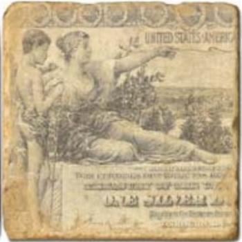 Carrelage en marbre, motif billet de banque B, finition antique, illet pour l'accroche, pieds antidérapants, L 20 xl 20 x h 1 cm