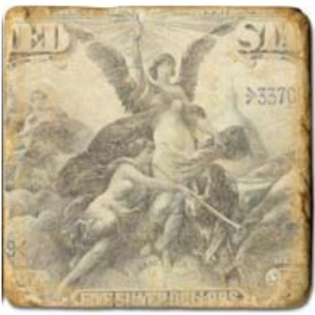 Marble Tile, Theme: Banknotes C, antique finish, hanger, anti slip nubs, Dim.: l 20 x w 20 x h 1 cm