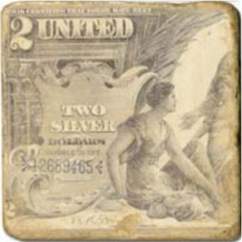 Marble Tile, Theme: Banknotes D, antique finish, hanger, anti slip nubs, Dim.: l 20 x w 20 x h 1 cm