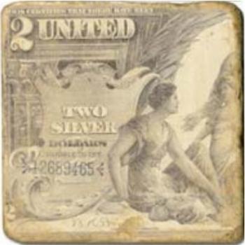 Carrelage en marbre, motif billet de banque D, finition antique, illet pour l'accroche, pieds antidérapants, L 20 xl 20 x h 1 cm
