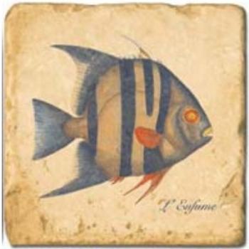 Carrelage en marbre, motif poissons exotiques B, finition antique, illet pour l'accroche, pieds antidérapants, L 20 xl 20 x h 1 cm