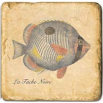 Marble Tile, Theme: Tropical Fishes C, antique finish, hanger, anti slip nubs, Dim.: l 20 x w 20 x h 1 cm
