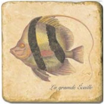 Marble Tile, Theme: Tropical Fishes D, antique finish, hanger, anti slip nubs, Dim.: l 20 x w 20 x h 1 cm