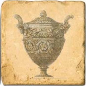 Carrelage en marbre, motif vases anciens B, finition antique, illet pour l'accroche, pieds antidérapants, L 20 xl 20 x h 1 cm
