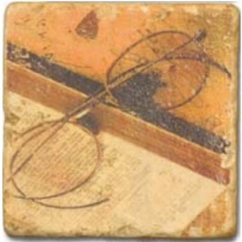 Carrelage en marbre, motif antiquités D, finition antique, illet pour l'accroche, pieds antidérapants, L 20 xl 20 x h 1 cm