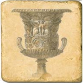 Marble Tile, Theme: Classic Vases D, antique finish, hanger, anti slip nubs, Dim.: l 20 x w 20 x h 1 cm