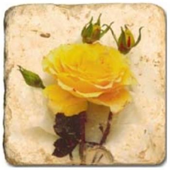 Carrelage en marbre, motif fleurs de roses A, finition antique, illet pour l'accroche, pieds antidérapants, L 20 xl 20 x h 1 cm