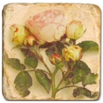 Marble Tile, Theme: Roses B, antique finish, hanger, anti slip nubs, Dim.: l 20 x w 20 x h 1 cm
