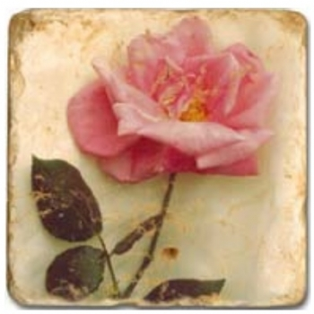 Marmorfliese, Motiv: Rosenblüten C,  Antikfinish,  Aufhängeöse, Antirutschfüßchen, Maße: L 20 x B 20 x H 1 cm