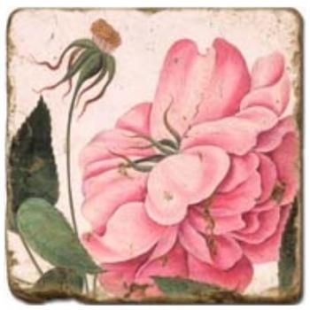 Carrelage en marbre, motif roses roses B, finition antique, illet pour l'accroche, pieds antidérapants, L 20 xl 20 x h 1 cm