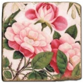 Marble Tile, Theme: Rosy Roses C, antique finish, hanger, anti slip nubs, Dim.: l 20 x w 20 x h 1 cm