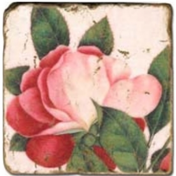 Marble Tile, Theme: Rosy Roses D, antique finish, hanger, anti slip nubs, Dim.: l 20 x w 20 x h 1 cm