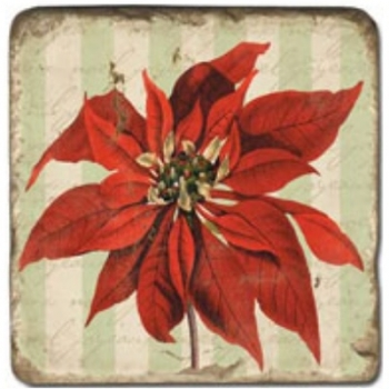 Marble Tile, Theme: Poinsettia A, antique finish, hanger, anti slip nubs, Dim.: l 20 x w 20 x h 1 cm