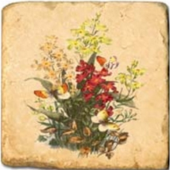 Marble Tile, Theme:Spring Flowers A, antique finish, hanger, anti slip nubs, Dim.: l 20 x w 20 x h 1 cm