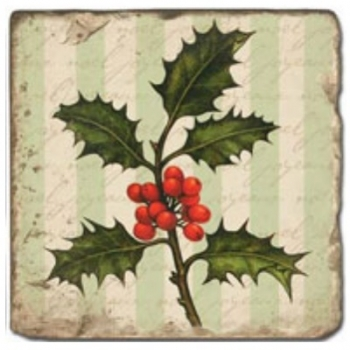 Marble Tile, Theme: Poinsettia B, antique finish, hanger, anti slip nubs, Dim.: l 20 x w 20 x h 1 cm