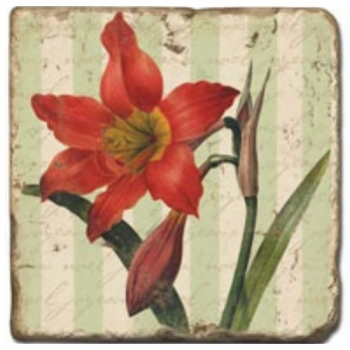 Marble Tile, Theme: Poinsettia C, antique finish, hanger, anti slip nubs, Dim.: l 20 x w 20 x h 1 cm
