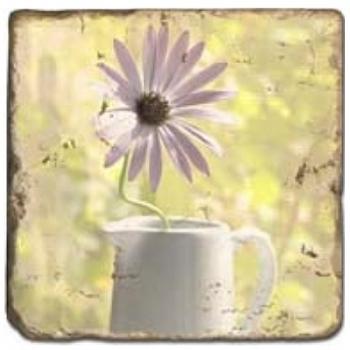 Marmorfliese, Motiv: Blumenstilleben D,  Antikfinish,  Aufhängeöse, Antirutschf., Maße: L 20 x B 20 x H 1 cm