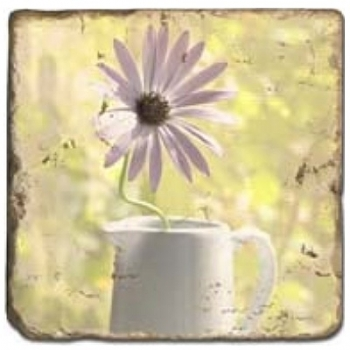 Marble Tile, Theme: Flower Stills C, antique finish, hanger, anti slip nubs, Dim.: l 20 x w 20 x h 1 cm