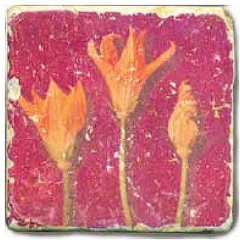 Marble Tile, Theme: Flower Potpourri C, antique finish, hanger, anti slip nubs, Dim.: l 20 x w 20 x h 1 cm
