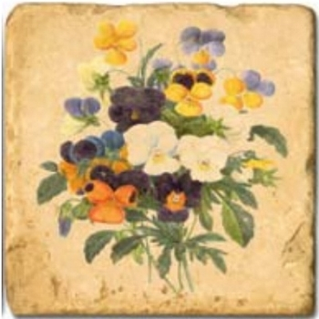Marble Tile, Theme: Spring Flowers B, antique finish, hanger, anti slip nubs, Dim.: l 20 x w 20 x h 1 cm