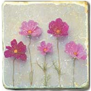 Marble Tile, Theme: Flower Potpourri D, antique finish, hanger, anti slip nubs, Dim.: l 20 x w 20 x h 1 cm