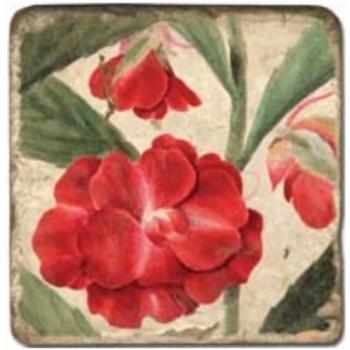 Carrelage en marbre, motif fleurs d'été 1A, finition antique, illet pour l'accroche, pieds antidérapants, L 20 xl 20 x h 1 cm