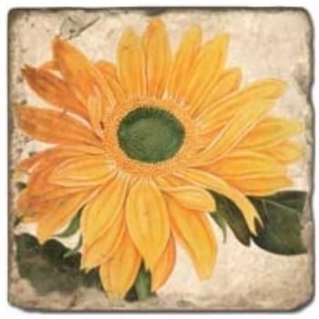 Marmorfliese, Motiv: Sommerblüten 1 B,  Antikfinish,  Aufhängeöse, Antirutschf., Maße: L 20 x B 20 x H 1 cm