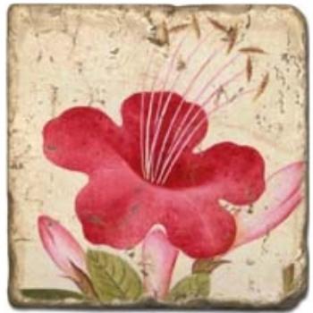 Carrelage en marbre, motif fleurs d'été 1C, finition antique, illet pour l'accroche, pieds antidérapants, L 20 xl 20 x h 1 cm