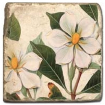 Marble Tile, Theme: Summer Flowers 1 D, antique finish, hanger, anti slip nubs, Dim.: l 20 x w 20 x h 1 cm